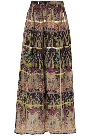 ETRO Metallic printed silk-blend jacquard maxi skirt
