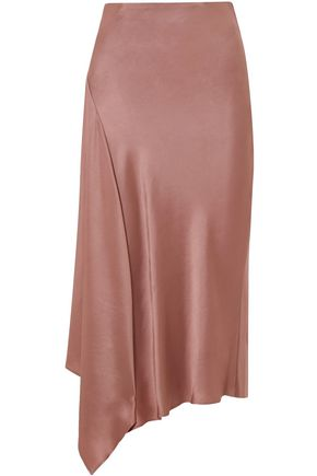 BRUNELLO CUCINELLI Asymmetric satin midi skirt