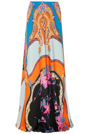 ETRO Printed crepe-satin maxi skirt