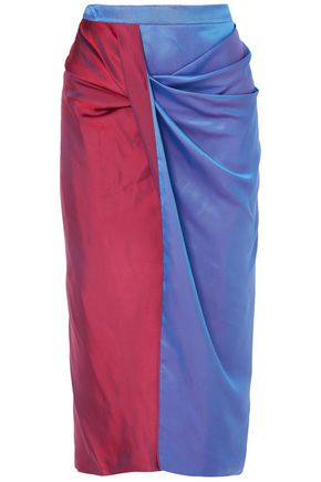 SIES MARJAN Libbie draped two-tone iridescent dégradé satin-twill midi skirt
