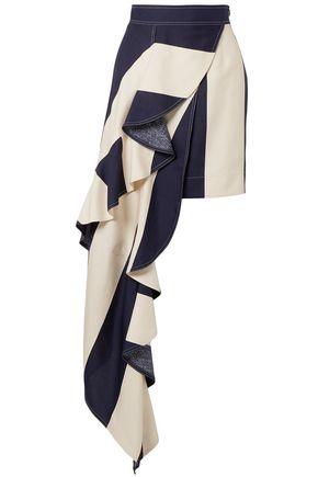 CALVIN KLEIN 205W39NYC Draped striped silk-shantung mini skirt