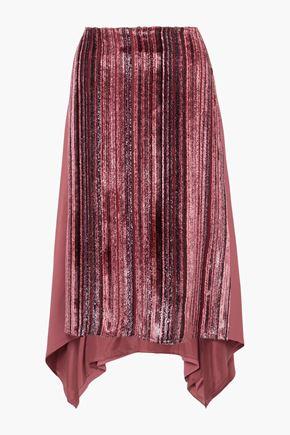 SIES MARJAN Darby metallic devoré-velvet and pleated chiffon skirt