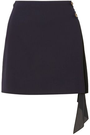 GIVENCHY Paneled wool and silk crepe de chine mini skirt