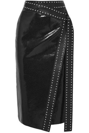 ALEXANDER MCQUEEN Studded snake-effect leather midi wrap skirt