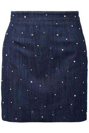 MIU MIU Crystal-embellished denim mini skirt
