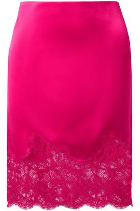 GIVENCHY Lace-paneled silk-satin mini pencil skirt