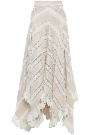 ZIMMERMANN Lace-paneled polka-dot satin midi skirt