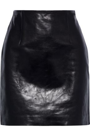 THEORY Textured-leather mini skirt
