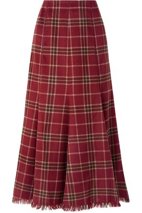 GABRIELA HEARST Amy pleated tartan cashmere and silk-blend midi skirt
