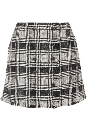 THOM BROWNE Frayed checked tweed mini skirt
