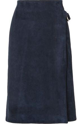 ADAM LIPPES Ring-embellished suede wrap skirt