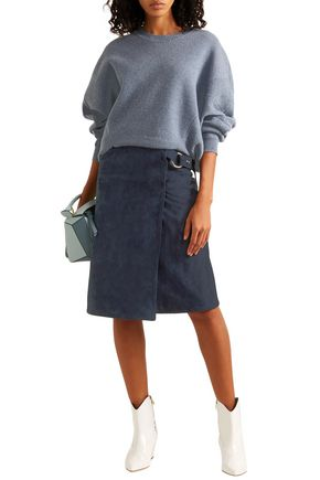 Adam Lippes Skirts ADAM LIPPES WOMAN RING-EMBELLISHED SUEDE WRAP SKIRT NAVY