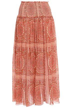 ZIMMERMANN Primrose shirred floral-print cotton and silk-blend midi skirt