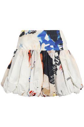 MARQUES' ALMEIDA Gathered printed cotton-poplin mini skirt