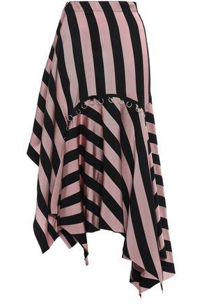 MARQUES' ALMEIDA Asymmetric ring-embellished striped twill mini skirt