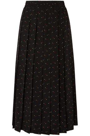 MIU MIU Pleated printed silk crepe de chine midi skirt