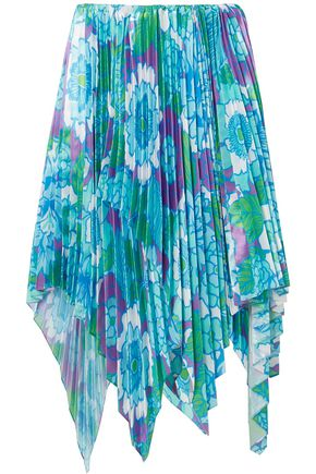 RICHARD QUINN Asymmetric pleated floral-print satin skirt