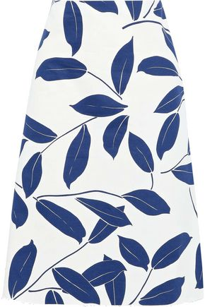 MARNI Flared printed cotton and linen-blend twill skirt