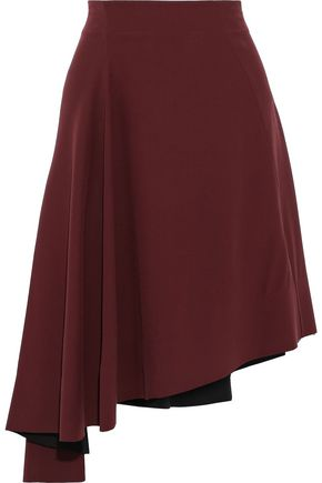MARNI Asymmetric ruffled silk-crepe skirt