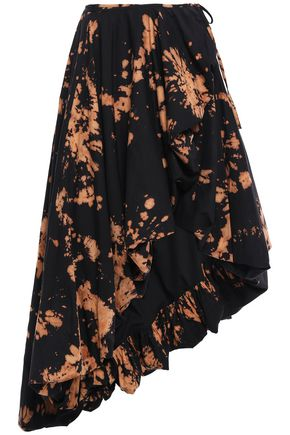 MARQUES' ALMEIDA Asymmetric printed cotton-twill wrap skirt