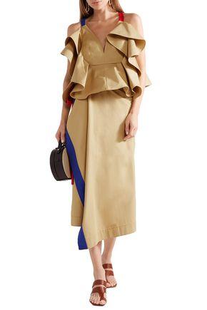 Rosie Assoulin Woman Draped Color-Block Cotton-Twill Midi Wrap Skirt Beige