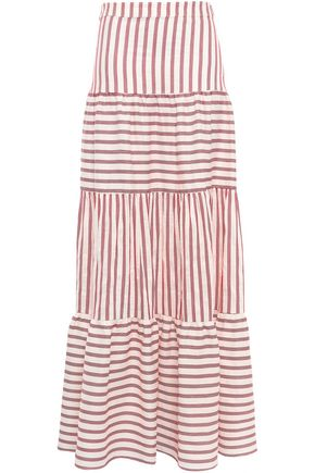 PAPER London Tiered striped woven maxi skirt