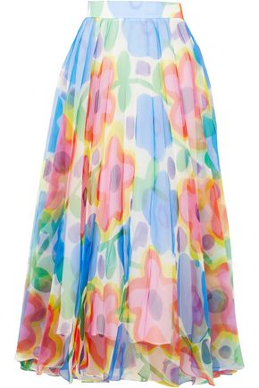 CHRISTOPHER KANE Pleated floral-print organza maxi skirt
