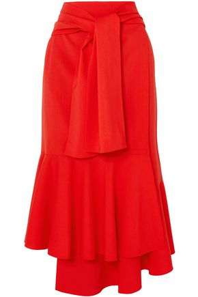 ADEAM Asymmetric wool-blend midi skirt