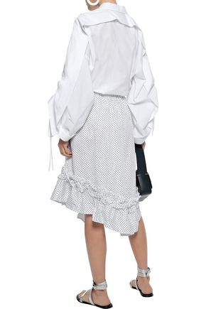 CLU Asymmetric ruffle-trimmed polka-dot cotton-poplin skirt