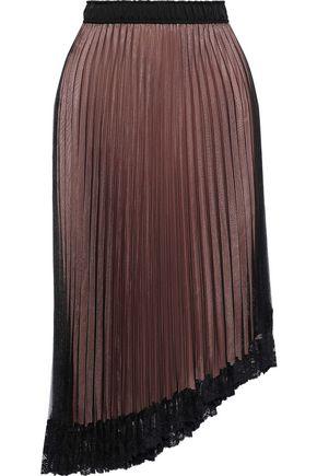 CLU Asymmetric lace-trimmed pleated chiffon skirt