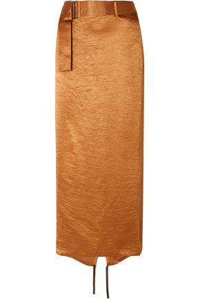 ANN DEMEULEMEESTER ラップ風 ベルト付き しわ加工サテン ミディスカート
