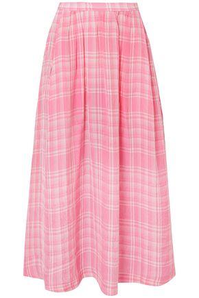 ROSIE ASSOULIN Checked crinkled-voile midi skirt