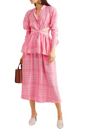 Rosie Assoulin Woman Checked Crinkled-Voile Midi Skirt Pink