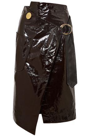 PETAR PETROV Wrap-effect crinkled patent-leather skirt