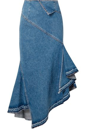MONSE Trumpet asymmetric ruffled denim midi skirt