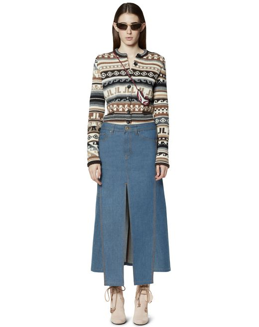 GONNA IN DENIM CON SPACCO - Lanvin