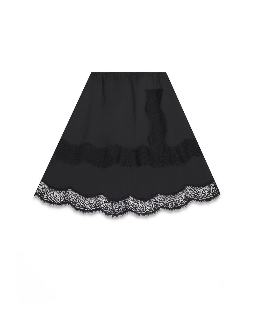 SATIN AND LACE MIDI SKIRT - Lanvin
