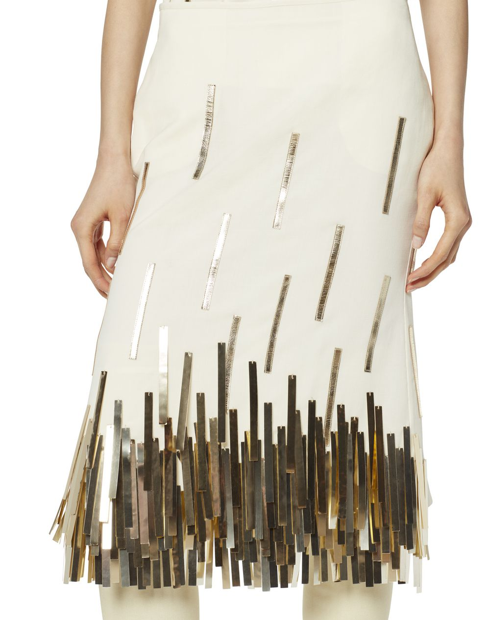 MID-LENGTH WOOL SKIRT WITH GOLD FRINGE - Lanvin