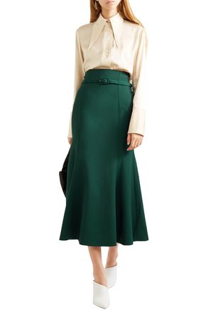 Gabriela Hearst Skirts GABRIELA HEARST WOMAN SEVERINO WOOL-BLEND MIDI SKIRT GREEN