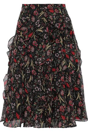MIKAEL AGHAL Ruffled floral-print georgette skirt
