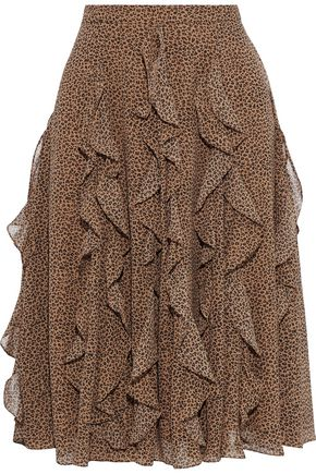 MIKAEL AGHAL Ruffled leopard-print georgette skirt