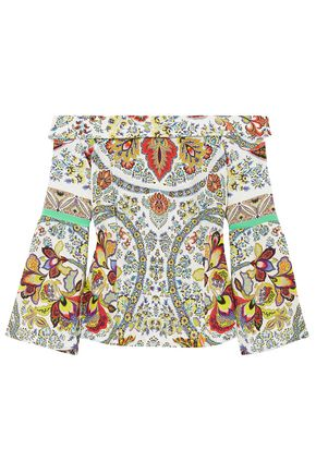 ETRO Off-the-shoulder printed silk blouse