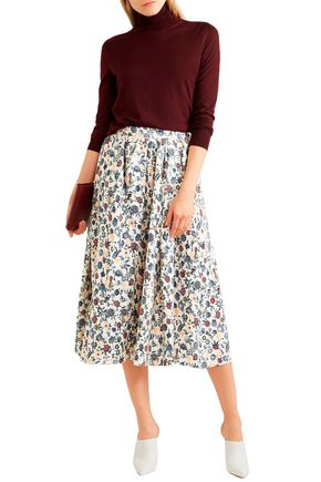 Adam Lippes Skirts ADAM LIPPES WOMAN PLEATED FLORAL-PRINT SILK-CREPE MIDI SKIRT MULTICOLOR