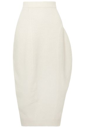 JIL SANDER Asymmetric ribbed wool and cashmere-blend midi pencil skirt