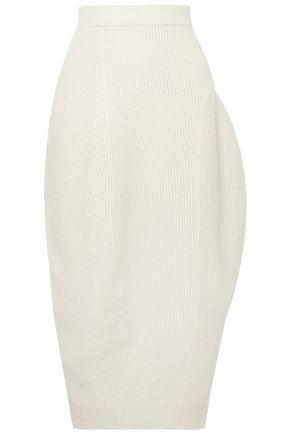 JIL SANDER Asymmetric ribbed wool and cashmere-blend midi pencil skirt