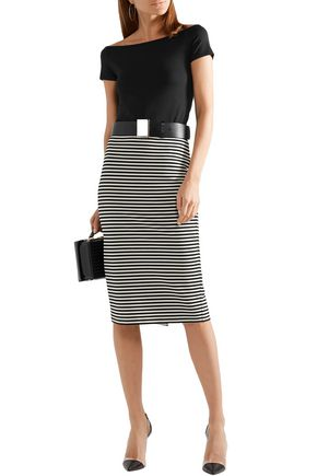 Max Mara Knits MAX MARA WOMAN EGOISTA STRIPED STRETCH-KNIT PENCIL SKIRT BLACK