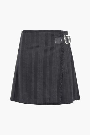 McQ Alexander McQueen Striped wool and cotton-blend mini wrap skirt