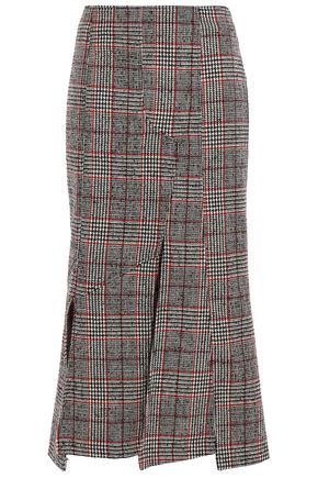 McQ Alexander McQueen Fringed Prince of Wales checked wool-blend midi skirt