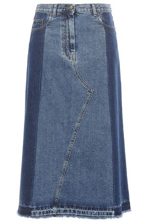 McQ Alexander McQueen Frayed denim midi skirt