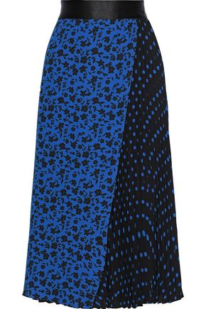 ALICE + OLIVIA Lilia pleated printed crepe midi skirt